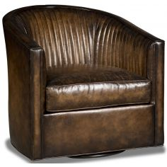 Leather barrel style swivel chair