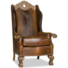 Leather armchair with unique wooden detailing