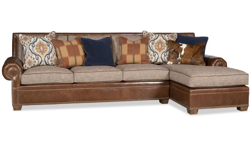 SECTIONALS - Leather & High End Upholstered Furniture Sectional sofa covered in a combination of leather and fabric