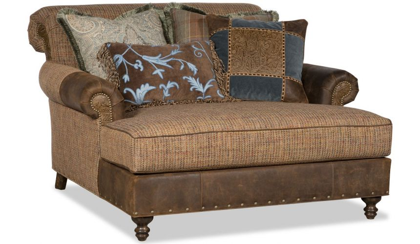 SETTEES, CHAISE, BENCHES Over-sized leather chaise