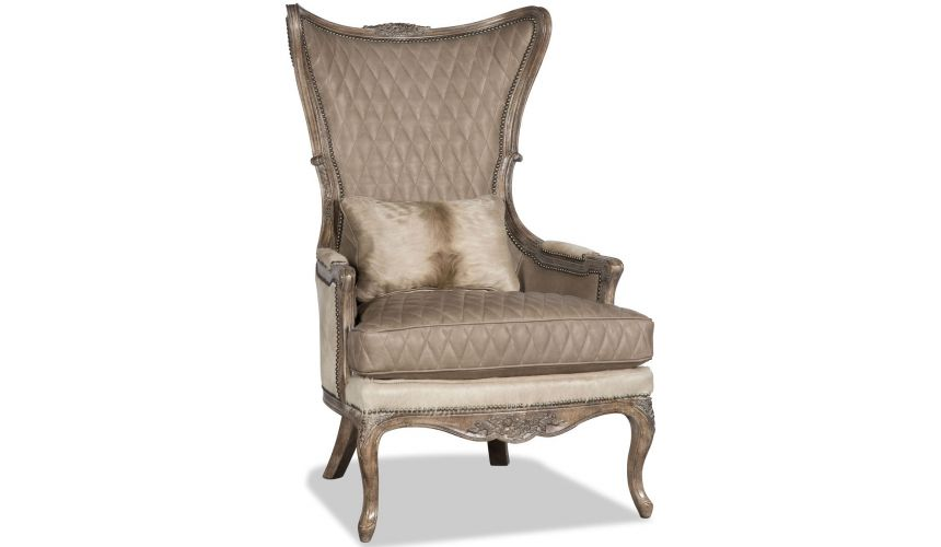 CHAIRS - Leather, Upholstered, Accent Quilted leather and animal print armchair