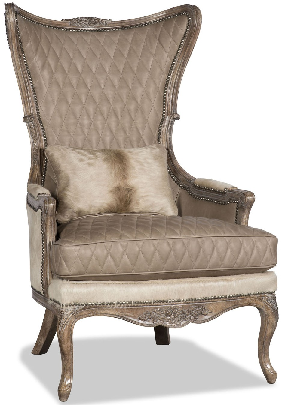 CHAIRS   Leather, Upholstered, Accent Quilted Leather And Animal Print  Armchair