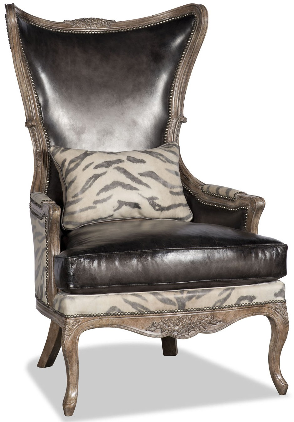 Leather And Animal Print Armchair