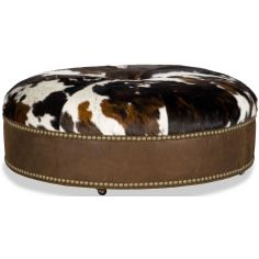 Cow print round ottoman