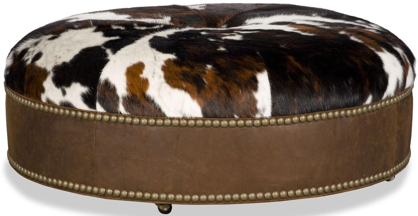 ottomans cow print round ottoman
