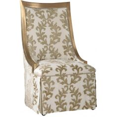 Chic slipper chair in gold and cream brocade fabric