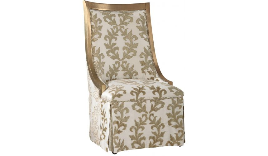 Dining Chairs Chic slipper chair in gold and cream brocade fabric