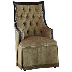 Armchair in a bisque textured fabric with tufted detailing