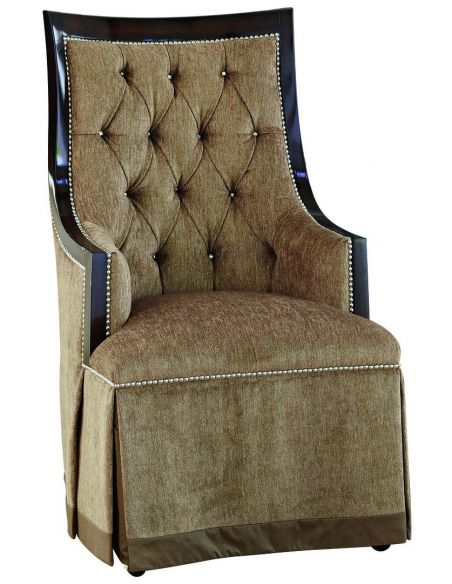 Dining Chairs Armchair in a bisque textured fabric with tufted detailing