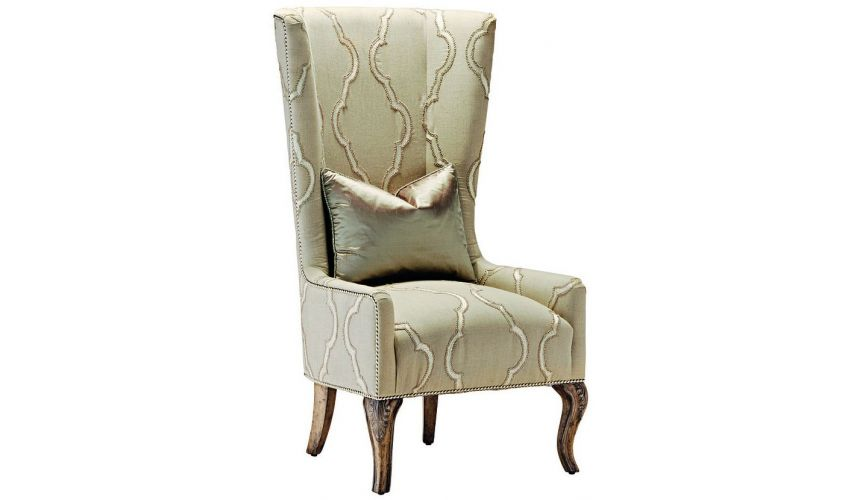 Dining Chairs High back armchair in a chic ivory fabric