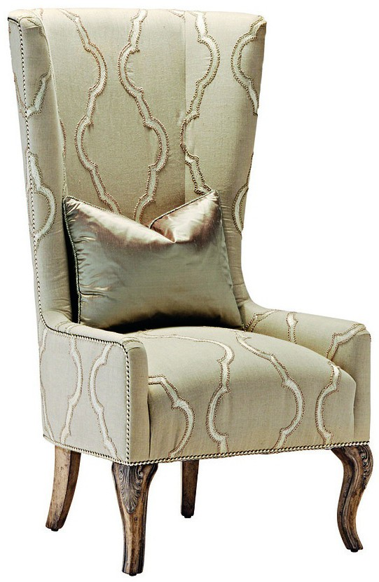 High Back Armchair In A Chic Ivory Fabric