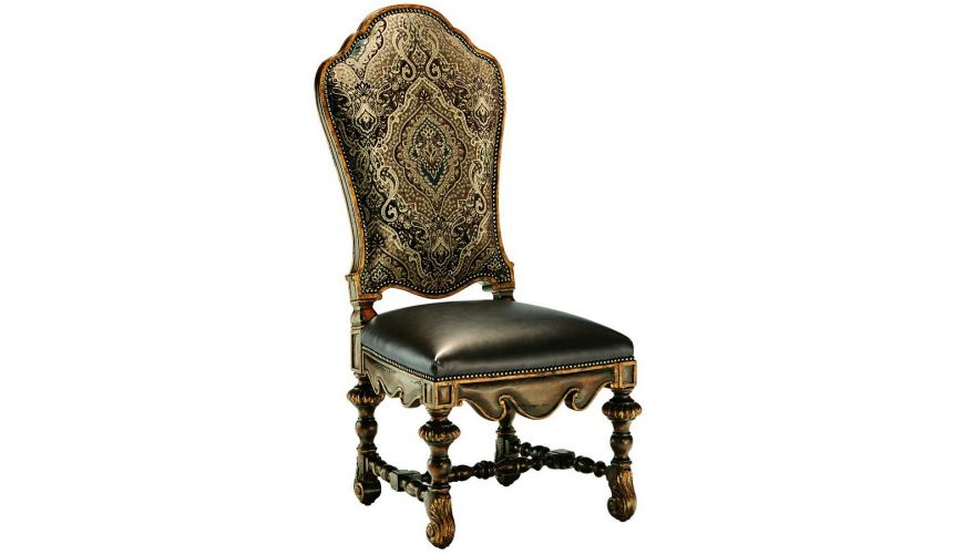 Dining Chairs Dining room chair covered in a combination of leather and printed fabrics