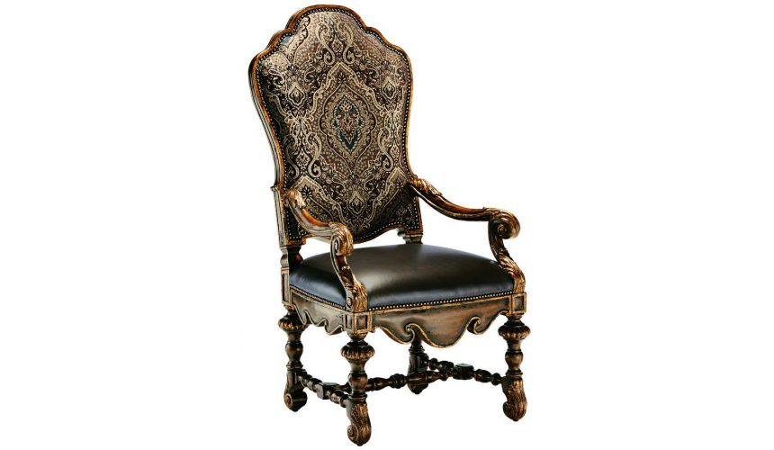 Dining Chairs Dining room chair with arms covered in a combination of leather and printed fabric