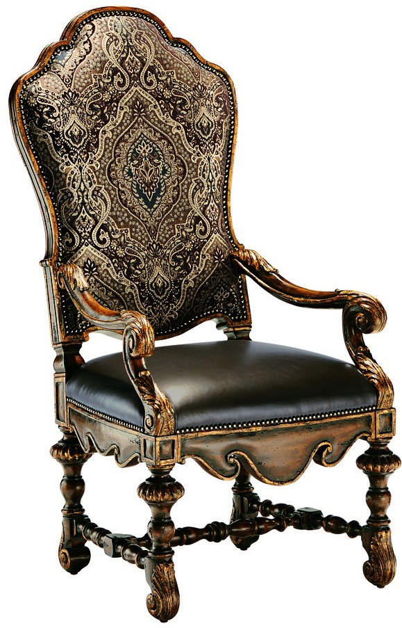 Dining room chair with arms covered in a combination of for Leather dining room chairs with arms