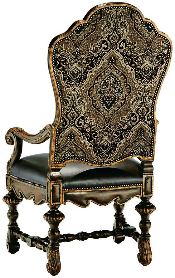 dining room chair with arms covered in a combination of