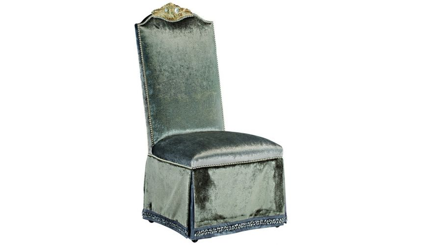 Dining Chairs Skirted dining room chair in a platinum fabric