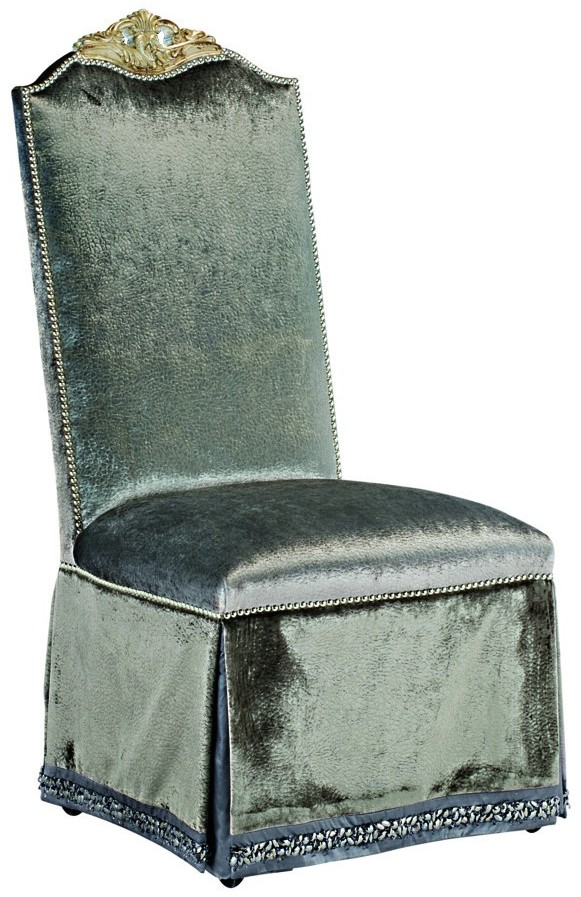 Cool Skirted Dining Room Chair In A Platinum Fabric Ibusinesslaw Wood Chair Design Ideas Ibusinesslaworg