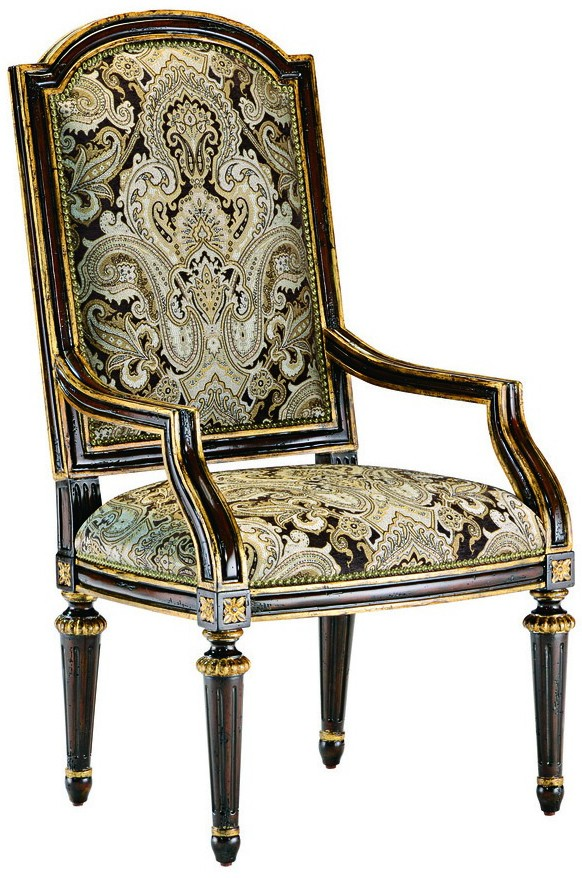 Dining room chair with arms covered in printed fabric with for Dining room chairs with arms