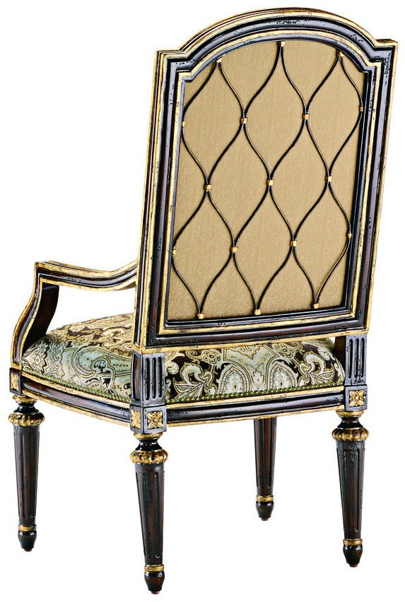 Dining Chairs Dining Room Chair With Arms Covered In Printed Fabric With  Carved Wooden Legs