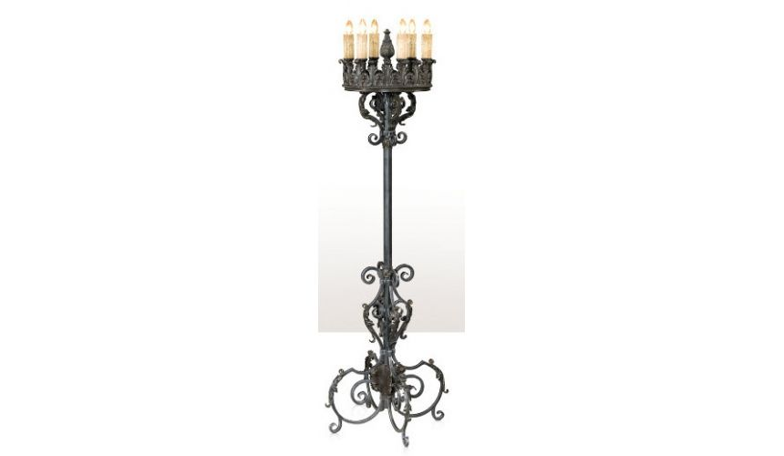 Lighting A silvered iron ten light candelabrum