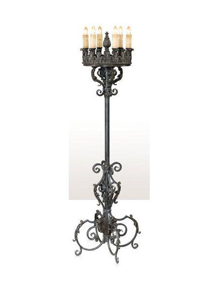 A silvered iron ten light candelabrum