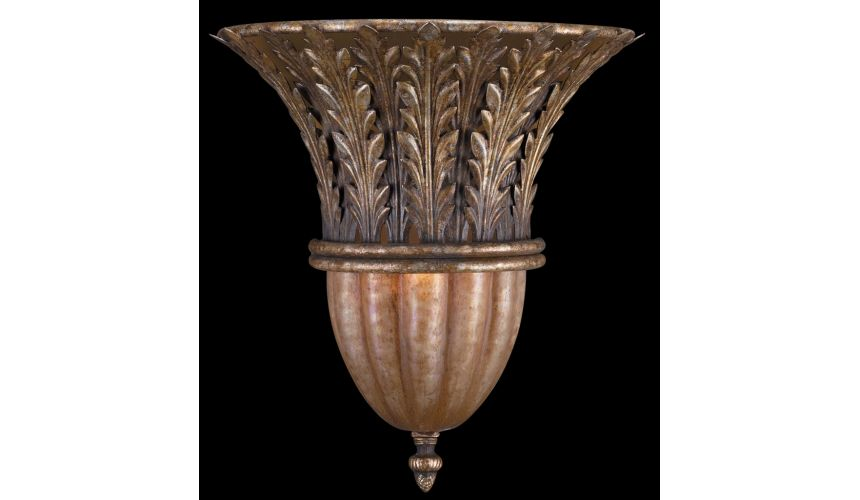 Lighting Wall sconce with classic foliage arrangement in cool moonlit patina