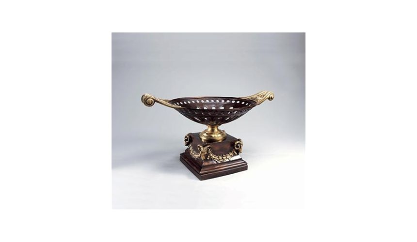Decorative Accessories High Quality Furniture,Dark Bronze Patina Brass Openwork Centerpiece