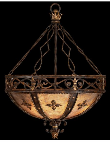 Lighting Pendant of antiqued iron with gold leaf. Features hand cut mica panels with decorative iron leaves.