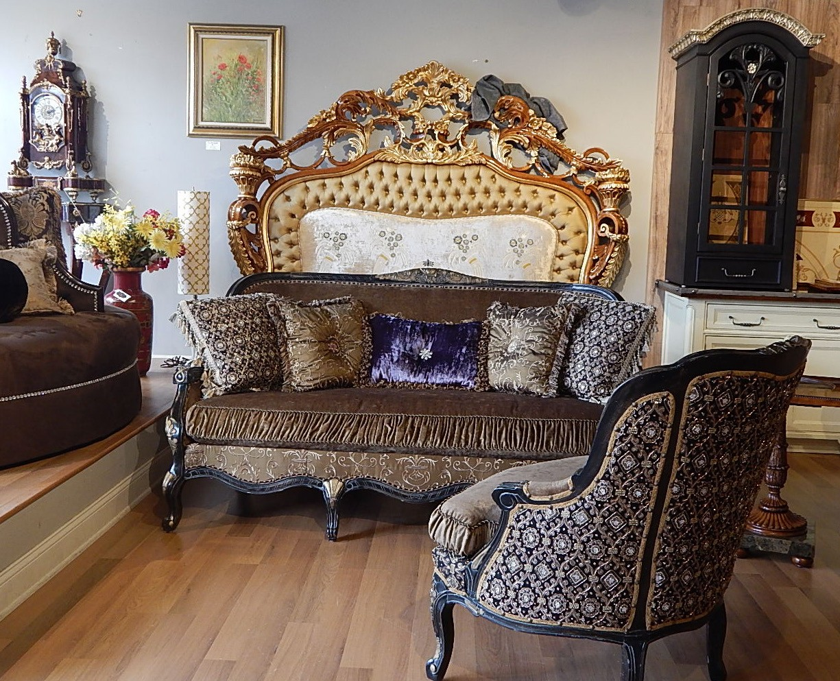 22 Victorian Style Sofa With A Black And Gold Color Theme