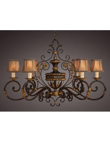 Lighting Oblong chandelier of gold leaf and antiqued finish