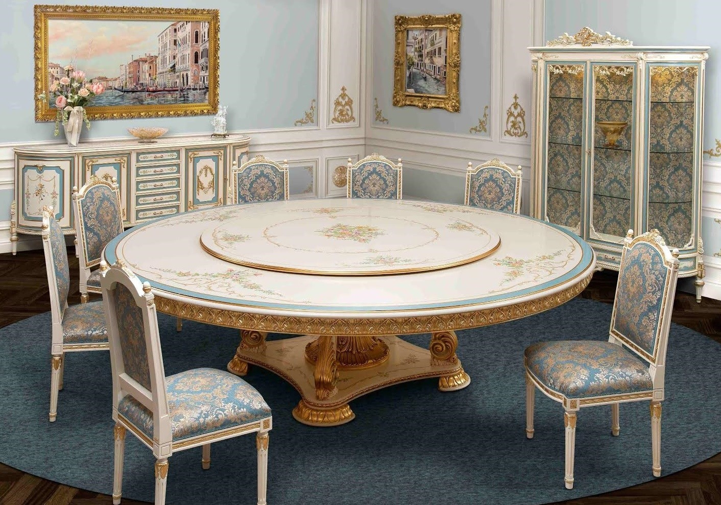 Venetian hand painted round dining set for Painted round dining table and chairs