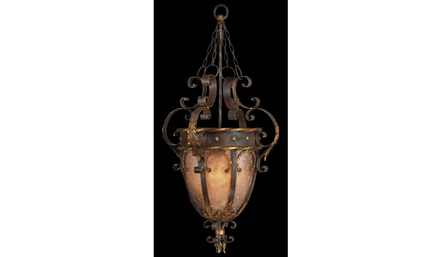 Lighting Pendant in antiqued iron and warm gold leaf finish. Features mica panels