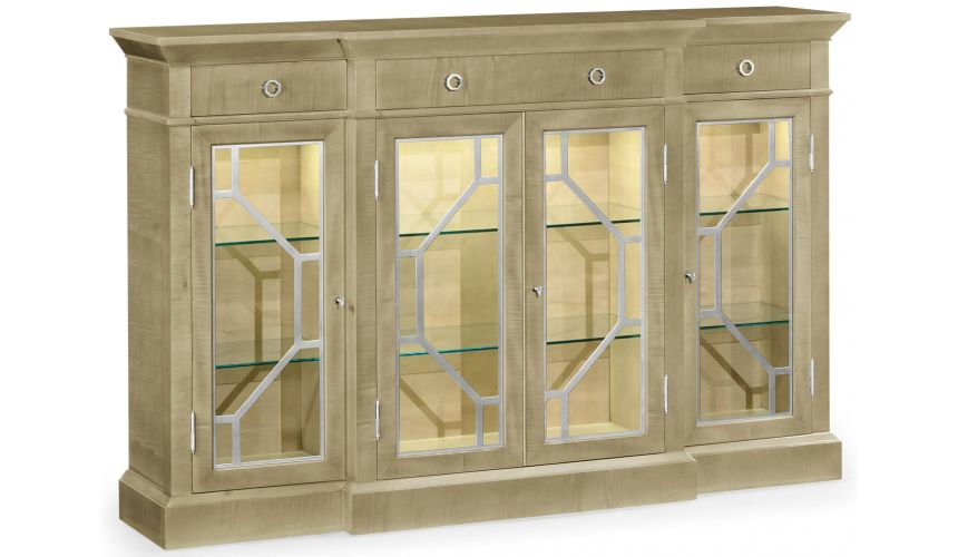 Breakfronts & China Cabinets Modern light color breakfront display cabinet
