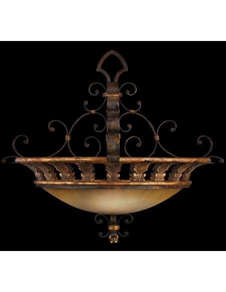 Lighting Pendant of antiqued iron with gold leaf. Features gold dusted glass coupe