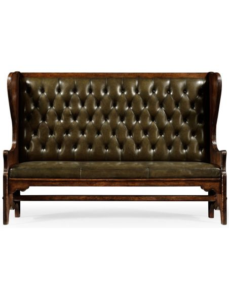 SETTEES, CHAISE, BENCHES Distressed dark oak leather bench