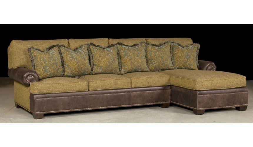 Luxury Leather & Upholstered Furniture Sectional Sofa with Chaise