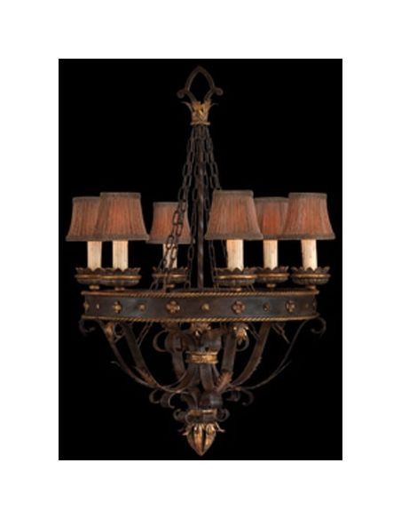 Lighting Iron and gold leafed chandelier. Features decorative pleated shades with braided trim