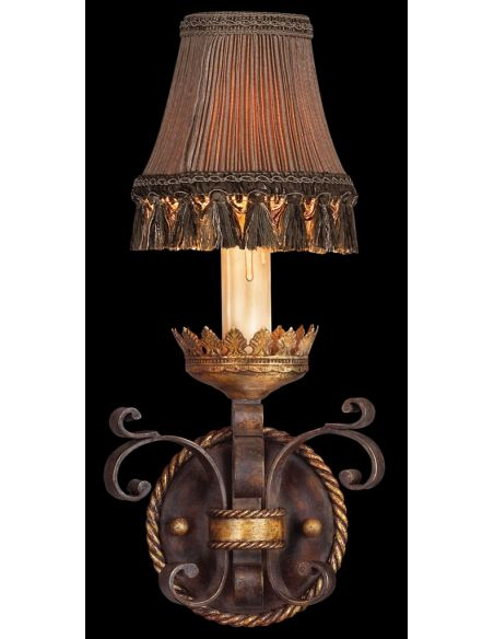 Lighting Wall sconce in antiqued iron and warm gold leaf finish