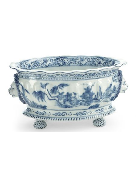 Decorative Accessories Blue & White Footed Planter