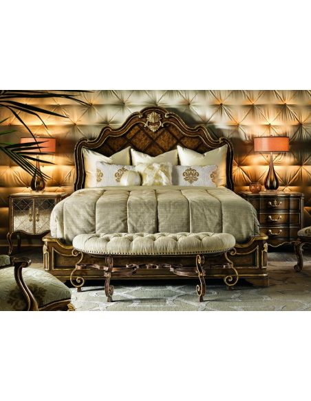 Queen and King Sized Beds 2 High end master bedroom set carvings and tufted leather headboard