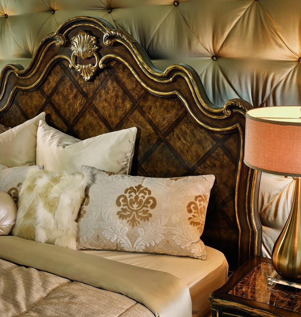 2 High end master bedroom set carvings and tufted leather headboard