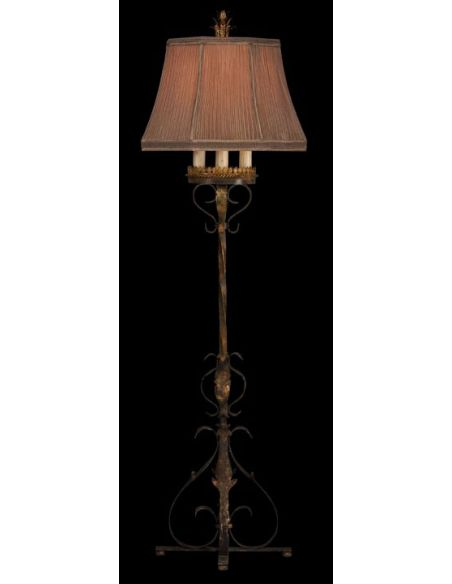 Lighting Floor lamp of gold leaf and antiqued finish