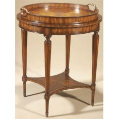 Aged Regency Finished Round Occasional Table, Leather Top, Removable Veneer Tray.