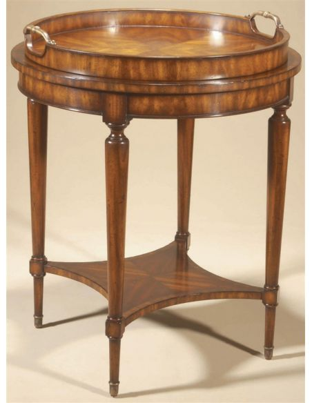 Round & Oval Side Tables Aged Regency Finished Round Occasional Table, Leather Top, Removable Veneer Tray.