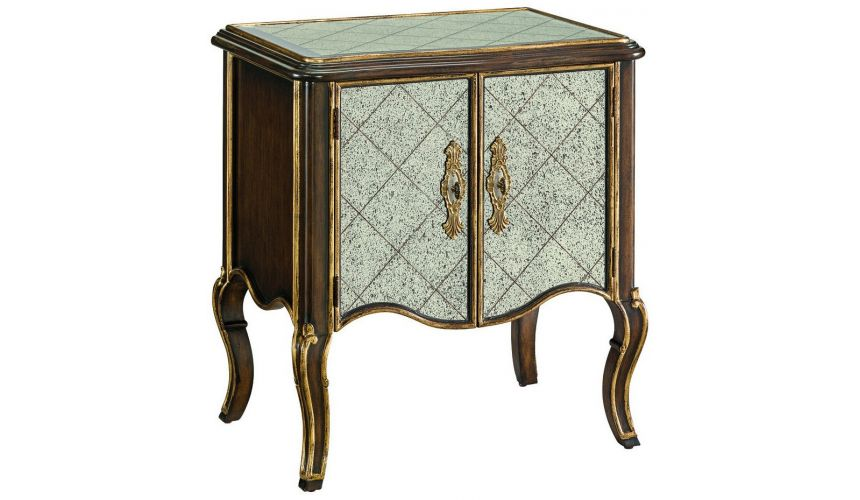 LUXURY BEDROOM FURNITURE Antique mirror high style night stand