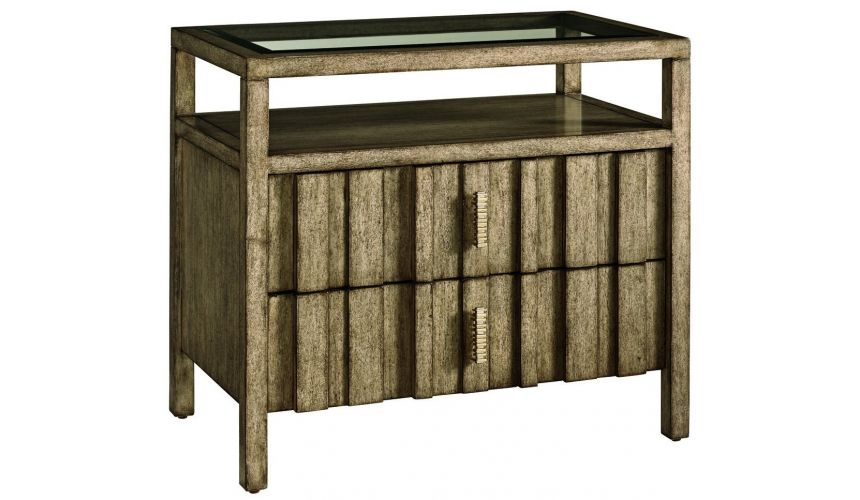 Chest of Drawers Glass top night stand with shelf and drawers