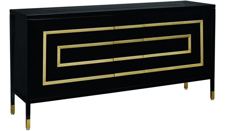 Breakfronts & China Cabinets Art Deco styled dining room breakfront server in ebony and cherry wood