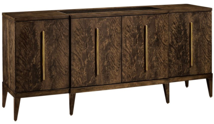 Breakfronts & China Cabinets Amazing wood grain features in this modern credenza