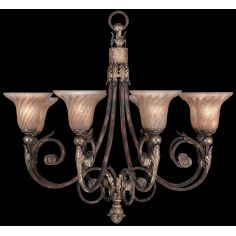Chandelier in tortoised leather crackle finish with stained silver leaf accents