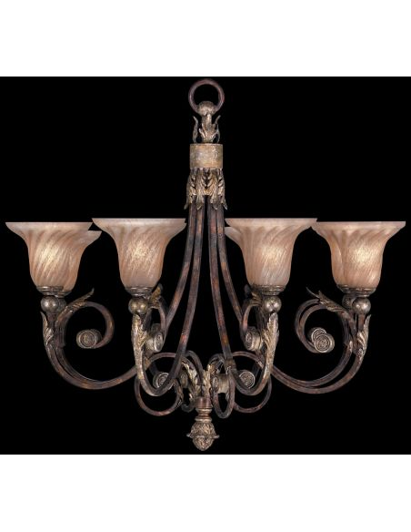 Lighting Chandelier in tortoised leather crackle finish with stained silver leaf accents